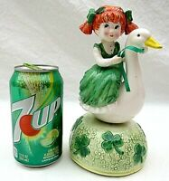 Girl Riding Goose Musical Spins Turns St Patricks Day Vintage Rare