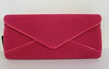 72978- Ladies Ella Fuchsia Velvet Effect Clutch Bag- Pink Lining- Chain Strap!