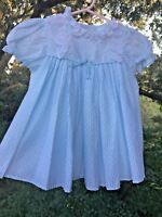 Vintage SEARS Smocked Gingham Polka Dot Light Blue Lace Girls Dress Sz 2T 👚tb18