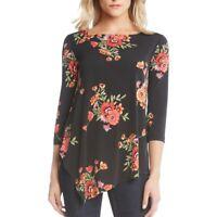 KAREN KANE NEW Women's Asymmetrical-hem Cross Back Blouse Shirt Top TEDO