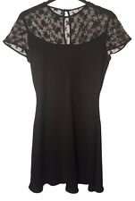 Elegant Little Black Cocktail Dress with Lace Detail in Size 10