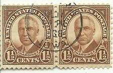 2 Harding 1 1/2 cents US Postage Stamps