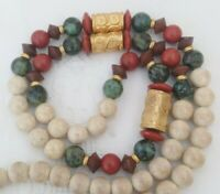 Vintage Jasper 24 Ct Gold Plated Bead Stone Necklace Cream Red Green Etruscan