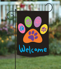 Toland Welcome Paws Black 12.5 x 18 Dog Cat Double Sided Garden Flag