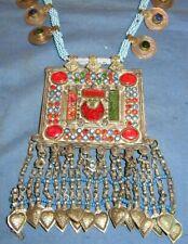 "Necklace Medallion Coin Afghan Tribal Kuchi Alpaca Silver 3"" x 4' 24"""