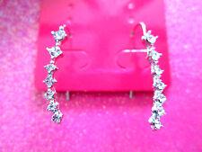 Silver Crystal Ear Cuff Earrings