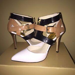 Michael Kors Anya Optic White Black Suntan Tan Zip Pointed Toe Heel Pumps 10