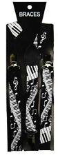 Robe Fantaisie Unisexe Fashion Bretelles Noir & Blanc Piano Clé & Musical Note Imprimer