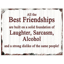 Vintage Best Friendships Plaque Funny Retro Friend Birthday Wall Sign Gift