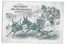 VICTORIAN  TRADE CARD GOUDY & KENTS FINE CONFECTIONERY BISCUITS DONKEY CART