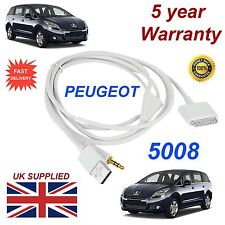 Peugeot 5008 3GS 4 4S iPhone iPod USB & Aux 3.5mm USB Cable in white