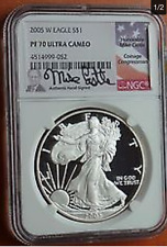 2005 W Proof Silver Eagle NGC PF70 Ultra Cameo Rare MIKE CASTLE SIGNED