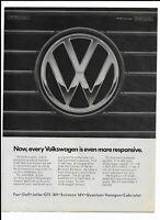 VOLKSWAGEN Vintage 1988 Print Ad ~ Grill VW Logo ~ Golf,Jetta,Fox,GTI,Cabriolet