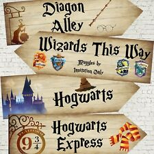 4 Harry Potter Hogwarts Wizards Party Decoration Arrow Signs