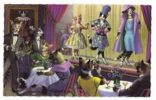 Mainzer postcard Dressed Cats fashion show # 4910 scalloped edges cat