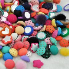 Mix Polka-dot Printing Fabric Covered Button Flat Back Decorative DIY Scrapbooks