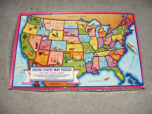 Vintage 1940 E.E FAIRCHILD Puzzle Map of United States- 48 STATES