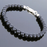 Men's Women Matte Black Onyx Sterling Silver Bracelet 5mm Beads DIY-KAREN 723
