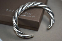 """Silpada Sterling Silver Bracelet B0014 RARE Twisted Cable Heavy Cuff 2.5"""" New"""