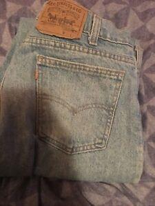 Mens Vintage Levi's 550 orange Tab med wash Blue Denim Jeans 34X32 Please Read