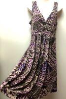 NWT Women's M Sleeveless Tribal Print Surplice Wrap Top Knit Sundress A.N.A.