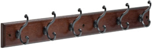 165541 Coat Rack, 27-Inch, Wall Mounted Coat Rack with 6 Decorative Hooks, Soft