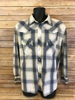 Wrangler Pearl Snap Shirt Size XL Mens Blue Plaid Western Long Sleeve Rodeo top