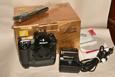 NIKON D2X BODY IN BOX WITH STRAP, CHARGER, MANUALS,AND MORE. 21,492 CLICKS
