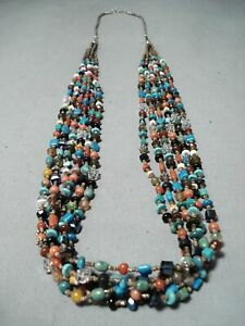 COLORFUL NAVAJO TURQUOISE STERLING SILVER NECKLACE NATIVE AMERICAN