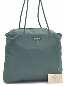 Authentic PRADA Nylon Shoulder Tote Bag Green C9455