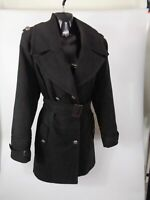WOMENS M&S BLACK DOUBLE BREASTED BUTTON UP FORMAL COAT UK SIZE 16