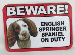 Beware! Guard English Springer Spaniel Dog On Duty Magnet Laminated Car Pet 6x4
