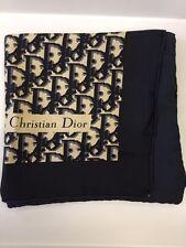 VINTAGE * CHRISTIAN DIOR * Grande Sciarpa Di Seta 100% Autentico Nero Grigio Crema Monogram