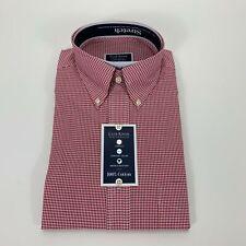 Club Room Mens Classic Fit Performance Mini Gingham Dress Shirt Red 15.5 32/33