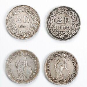 SVIZZERA Lotto 2 monete in argento da 2 Francs 1943 1944