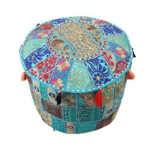 Indian Handmade Patchwork Round Ottoman Pouf Cover Decorative Ottoman Cover