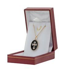 Cross Pendant Orthodox Bright and Chain 45cm New Plated Gold with Box