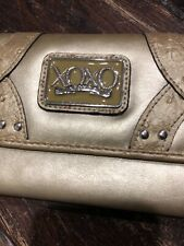 XOXO WOMEN'S Gold Faux Leather LARGE TRIFOLD Wallet -  Rare Hard To Find Style
