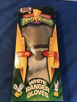 Vintage Mighty Morphin Power Rangers White Ranger Gloves New Sealed Box