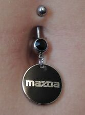 Mazda emblem drop belly button navel ring jeweled logo piercing charm