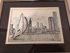 Chicago Skyline Diana Weber 1992 Ink Signed 233/500 Sailing Along the Lakefront