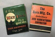 2 NEW IDEA FARM Equipment Machinery Advertising MATCHBOOK Vintage
