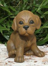 sculpture en pierre chiot position assise chien Figurine décorative de jardin