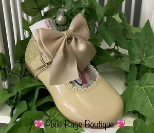💖 Spanish Camel Patent Real Leather Maryjane Glitter Bow Shoes 💖SMALL FITTING❣