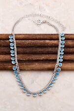 925 Sterling Silver Jewelry Dainty Shaker Turquoise Stone Lady Necklace