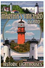 Lighthouses of Martha's Vinyard Island Montage, Massachusetts - Modern Postcard