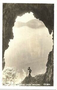 OLD REAL PHOTO POSTCARD RPPC CRATER LAKE OREGON MAN BRAND ARCH Photo Credit