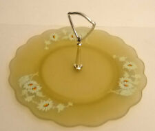 Westmoreland Glass Yellow Mist Tidbit Tray Hand painted Daisies Satin glass
