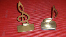 """2 VINTAGE BRASS MUSIC NOTE BOOKENDS APPROX 7 1/2"""" G CLEF"""