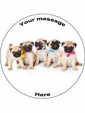 "Novelty Personalised Pug Puppies 7.5"" Edible Wafer Paper Cake Topper birthday"